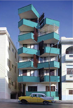 teal triangle balcony